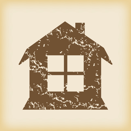 housetop: Grungy brown icon with image of house with window, on beige background