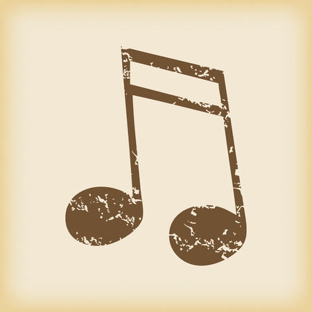 sixteenth note: Grungy brown icon with image of sixteenth note, on beige background