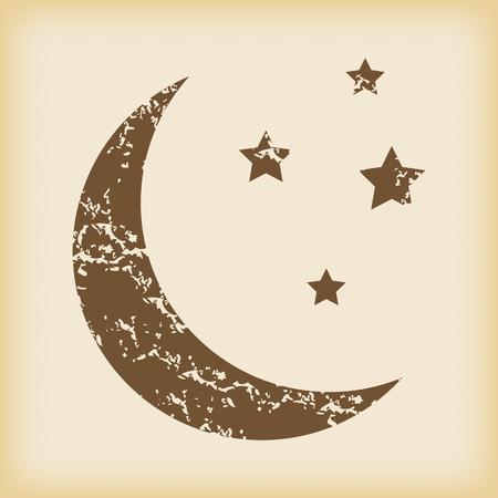 Grungy crescent moon icon Vector