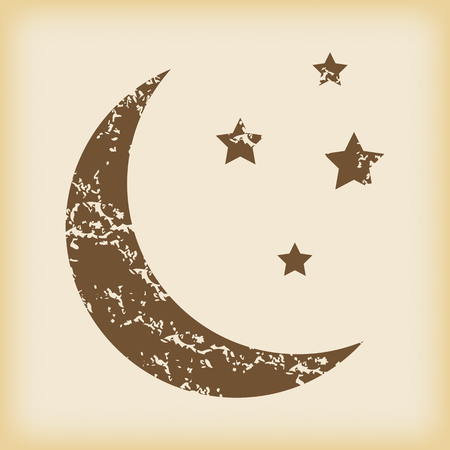 crescent moon: Grungy crescent moon icon