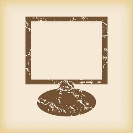 grungy: Grungy monitor icon Illustration
