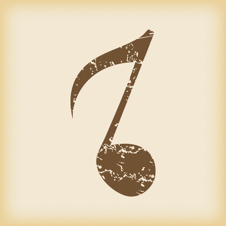 eighth note: Grungy eighth note icon Illustration
