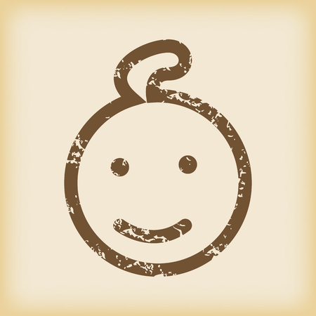 enfant qui sourit: Grungy ic�ne souriante enfant Illustration