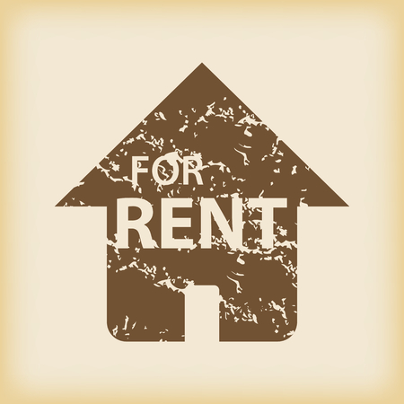 house for rent: Grungy house for rent icon