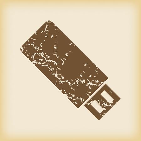 usb stick: Grungy USB stick icon