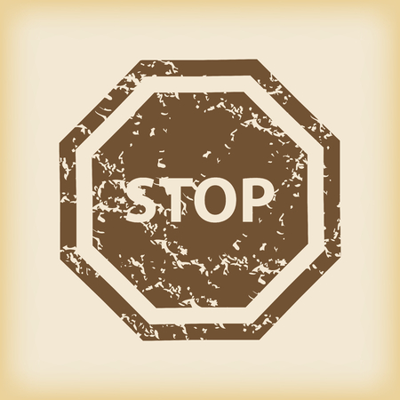 grungy: Grungy STOP icon Illustration