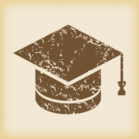 grungy: Grungy academic hat icon