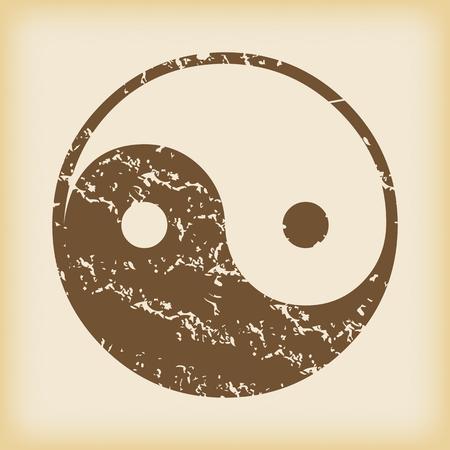 Grungy ying yang icon Illustration