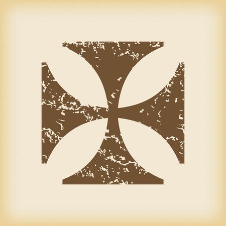 cross shape: Grungy maltese cross icon