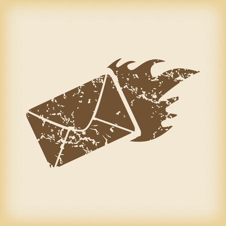 grungy email: Grungy burning envelope icon Illustration