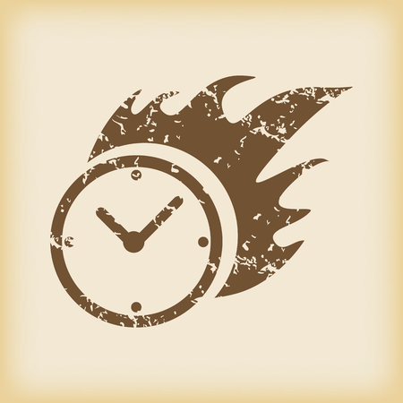 burning: Grungy burning clock icon