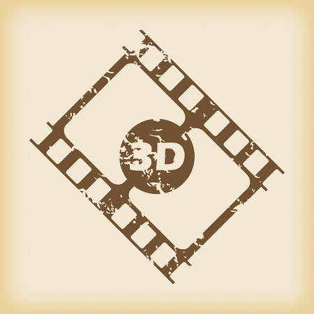 3d: Grungy 3D film icon