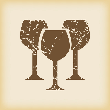 grungy: Grungy wine glass icon Illustration