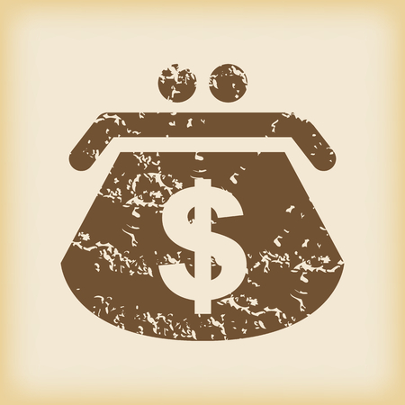 grungy: Grungy dollar purse icon Illustration