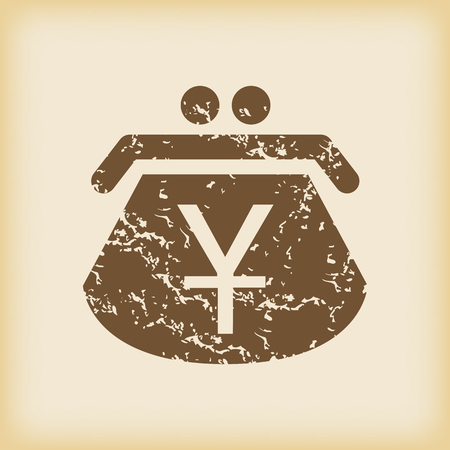 grungy: Grungy yen purse icon