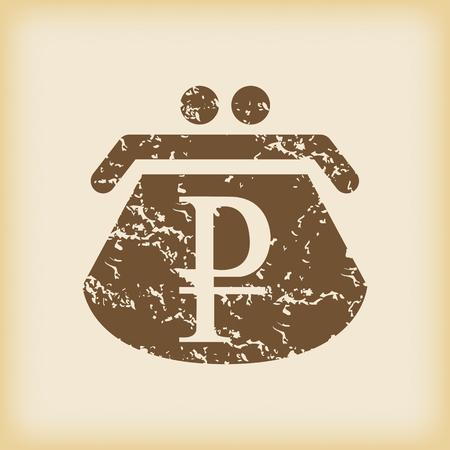 purse: Grungy ruble purse icon