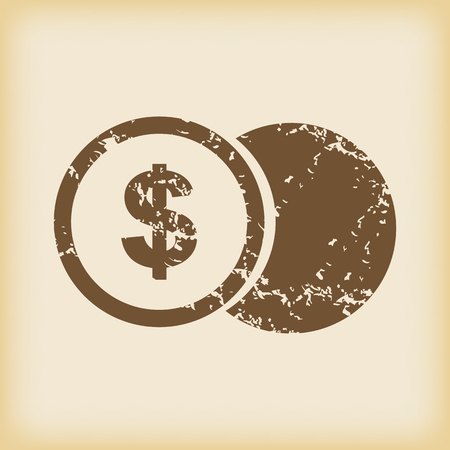 grungy: Grungy dollar coin icon Illustration