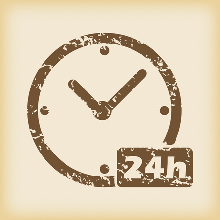 24h: Grungy 24h work icon