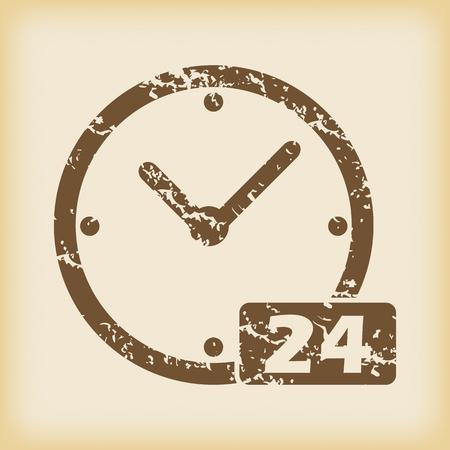 twenty four hour: Grungy 24 hours icon Illustration