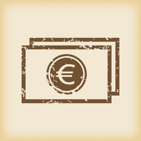 grungy: Grungy euro bill icon Illustration