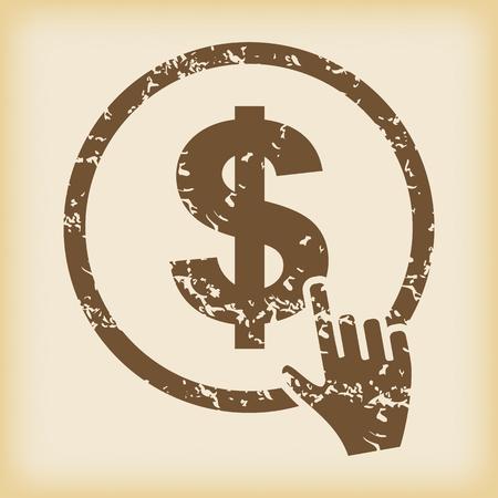 grungy: Grungy dollar button icon