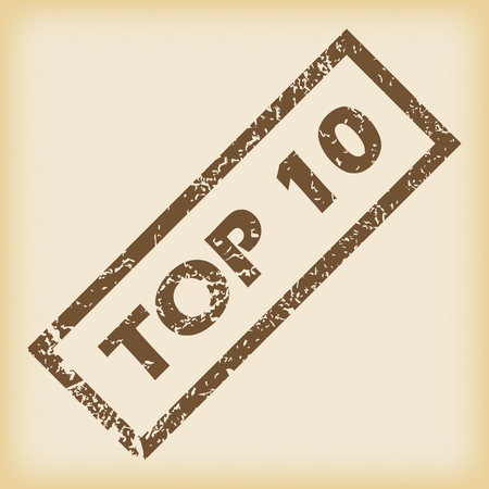 top 10: Brown rubber TOP 10 stamp Illustration