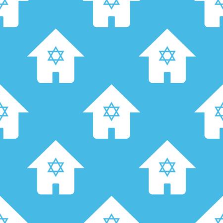 judaic: Blue judaic house pattern