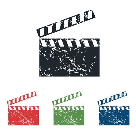 cinematograph: Claqueta grunge icono conjunto Vectores