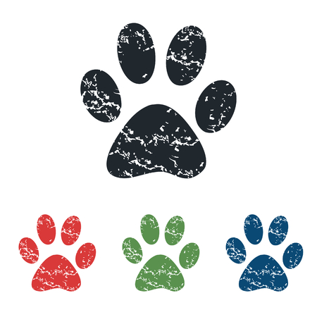 track pad: Paw grunge icon set