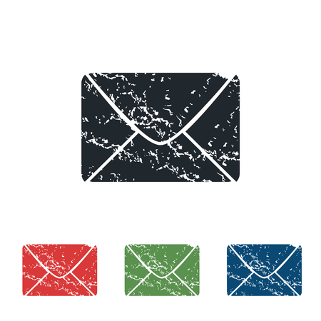 grungy email: Letter grunge icon set
