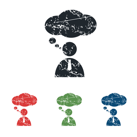 denkender mensch: Thinking Person grunge icon set