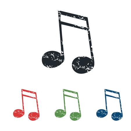 gamut: Sixteenth note grunge icon set Illustration