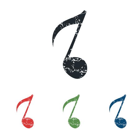 eighth note: Eighth note grunge icon set