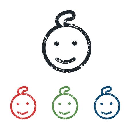 enfant qui sourit: Sourire enfant grunge ic�ne ensemble