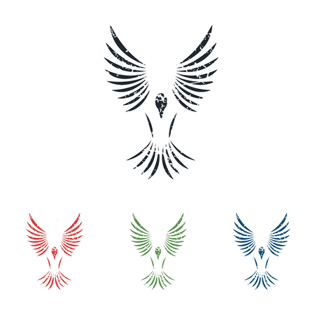 Flying bird grunge icon set Vector