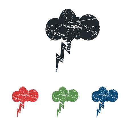 lightning storm: Thunderstorm grunge icon set