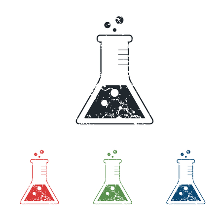 Conical flask grunge icon set Vector