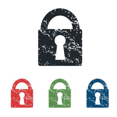 locked icon: Locked grunge icon set