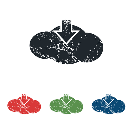 tearing down: Cloud download grunge icon set Illustration