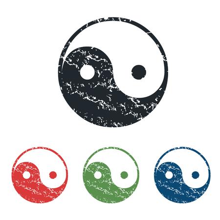 dao: Ying yang grunge icon set