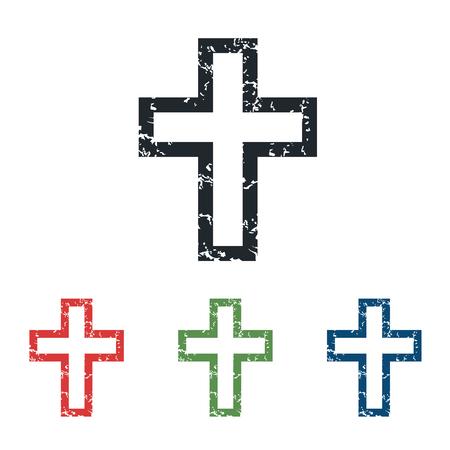 grunge cross: Christian cross grunge icon set