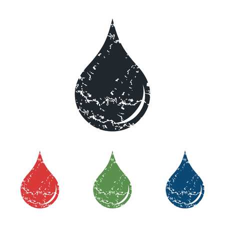 tear drop: Drop grunge icon set