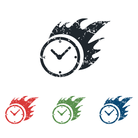 bounds: Burning clock grunge icon set Illustration