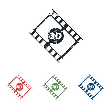 3d film: 3D film grunge icon set