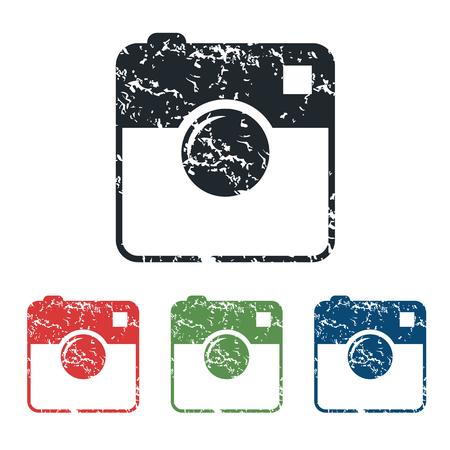 microblog: Square camera grunge icon set Illustration