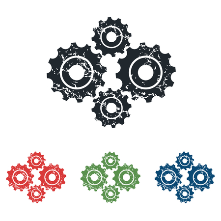 cogs: Cogs grunge icon set