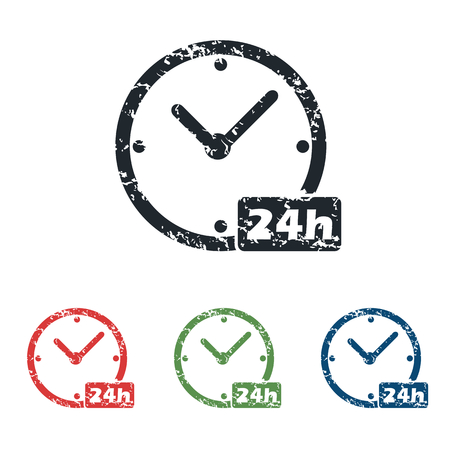 twenty four hours: 24h workhours grunge icon set