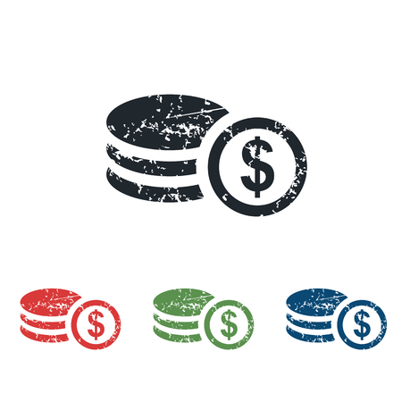 Dollar rouleau grunge icon set