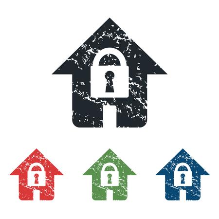 locked: Locked house grunge icon set Illustration