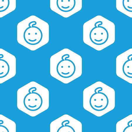 Smiling kid hexagon pattern Vector